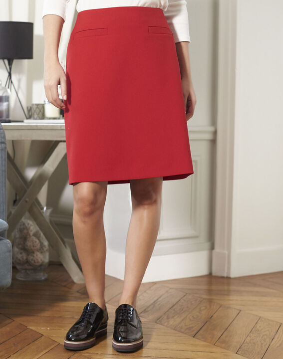 Jane red A-line skirt (2) - 1-2-3