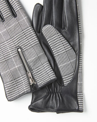 Ulysse leather gloves with prince of wales print black/white.