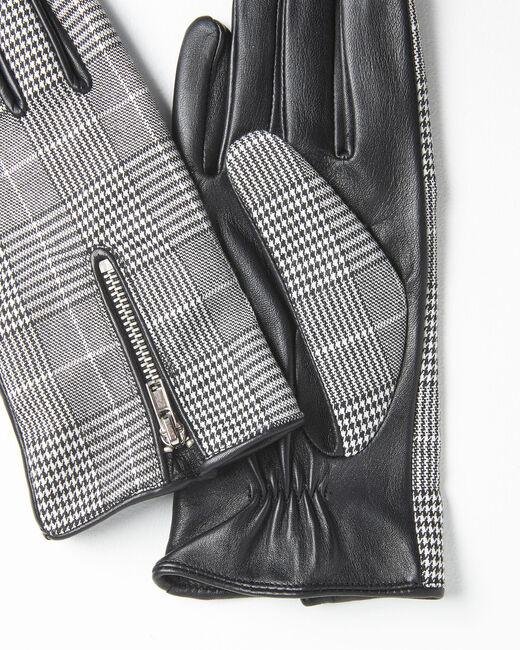 Gants noir et blanc carreaux en cuir Ulysse (2) - 37653