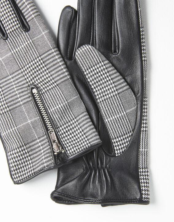 Gants noir et blanc carreaux en cuir Ulysse (2) - 1-2-3