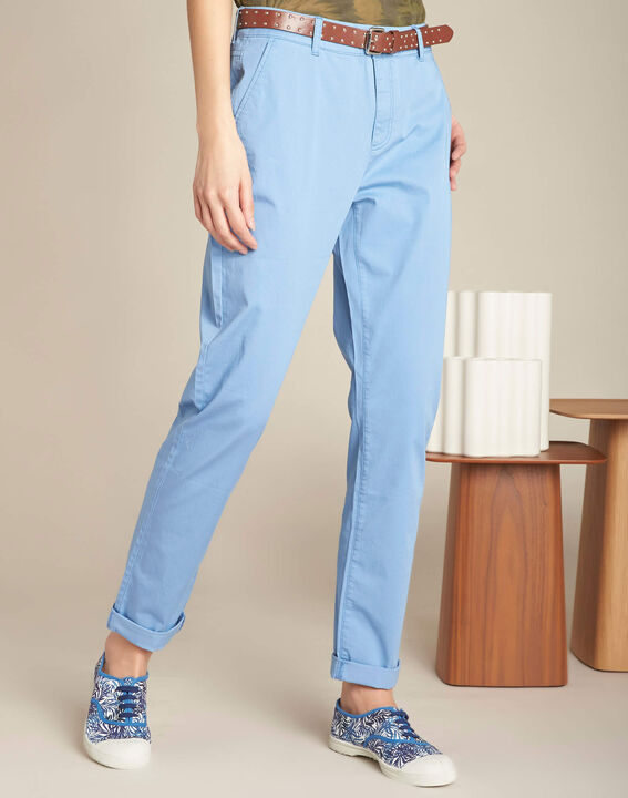 Pantalon slim indigo clair coton 7/8 Francis (3) - 1-2-3