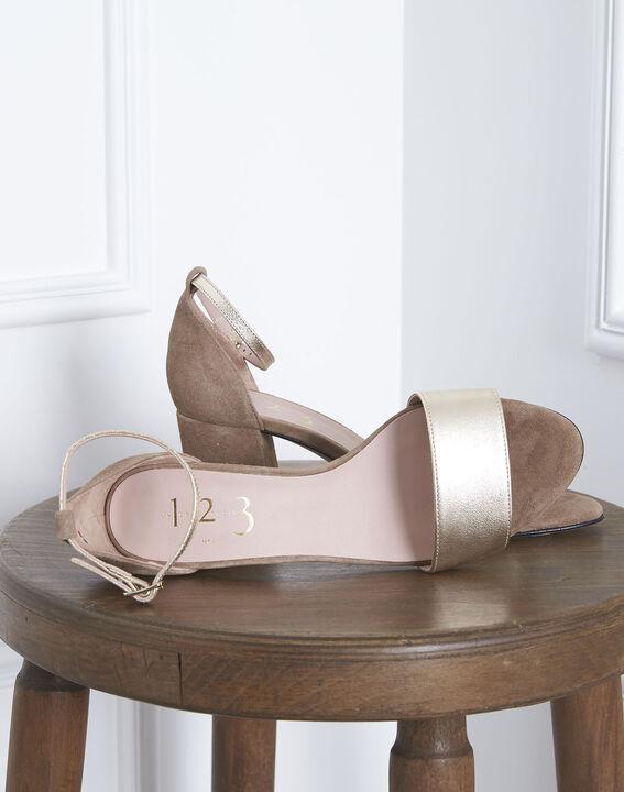 Sandales ouvertes dorées en cuir Khloe (2) - Maison 123
