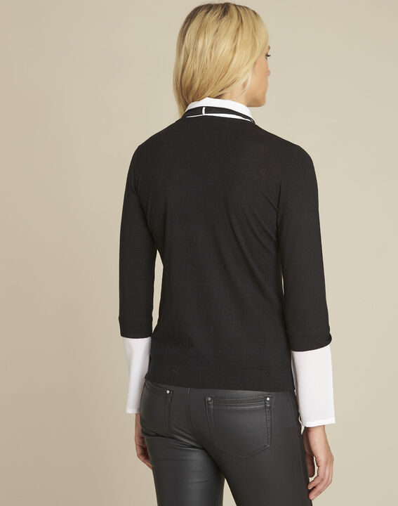 Bauline black pullover with shirt-style collar (4) - Maison 123
