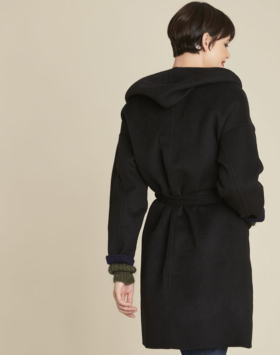 Elan black wool coat with blue reversible side (4) - 1-2-3