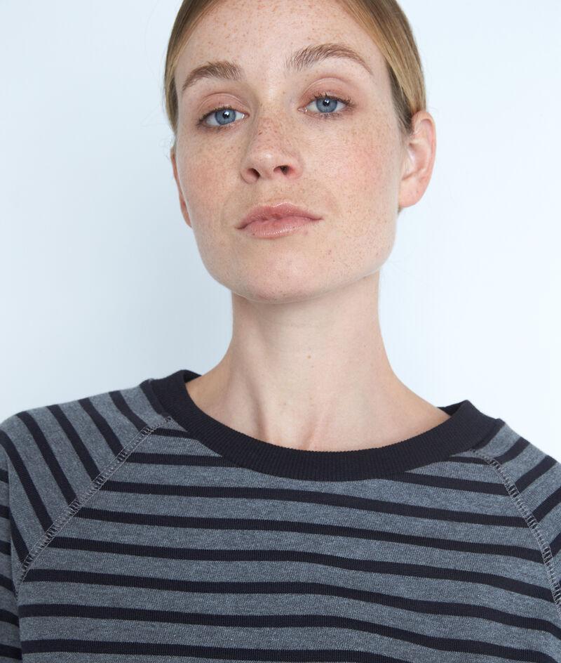 Tee-shirt à manches longues marinière gris et noir Eve PhotoZ | 1-2-3