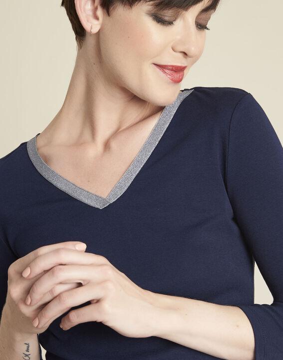Marineblauw T-shirt met glanzende halsopening Galvani (3) - 37653