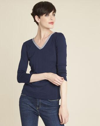 Tee-shirt marine encolure brillante galvani bleuet.