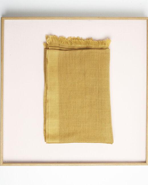 Foulard ocre à franges en laine et modal Farandole (2) - 1-2-3
