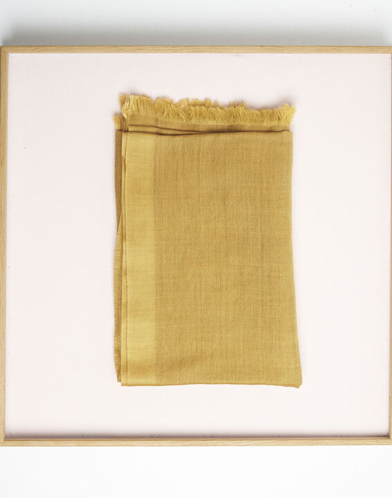 Farandole ochre wool and modal fringed scarf  PhotoZ | 1-2-3