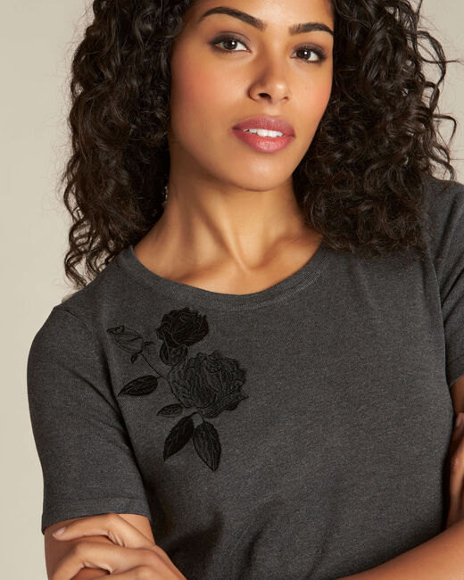 Novella embroidered grey sweater with short sleeves (2) - 1-2-3