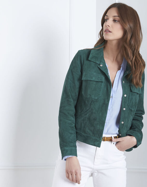 Veste verte poches plaquées cuir velours Frisbee (1) - Maison 123