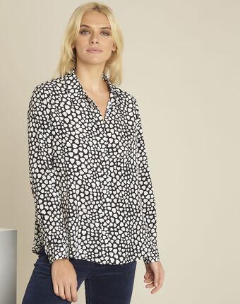 Catherine black heart print blouse black.