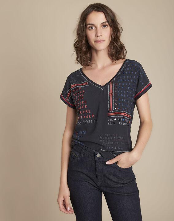 Tee-shirt bimatière imprimé Motive PhotoZ   1-2-3