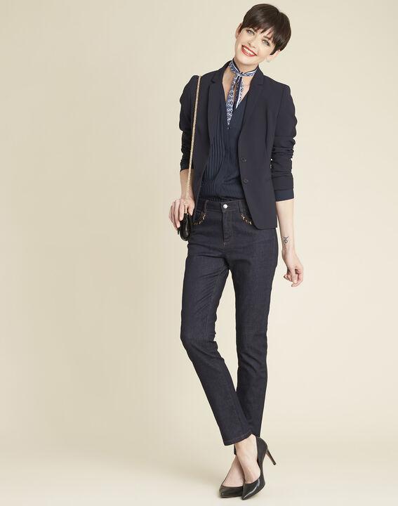 Marineblauwe blouse met fantasiehals Camelia (2) - 37653