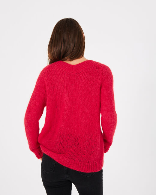 Paprika red V-neck sweater in mohair and alpaca (2) - 1-2-3