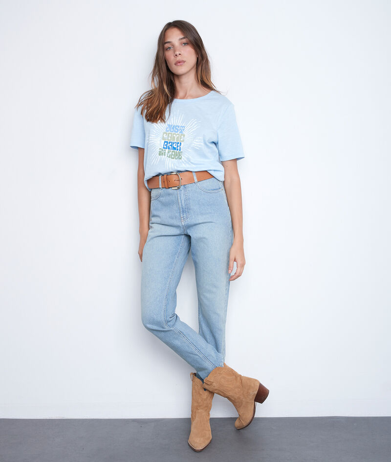Tee-shirt en coton à message bleu ciel Equinoxe PhotoZ | 1-2-3