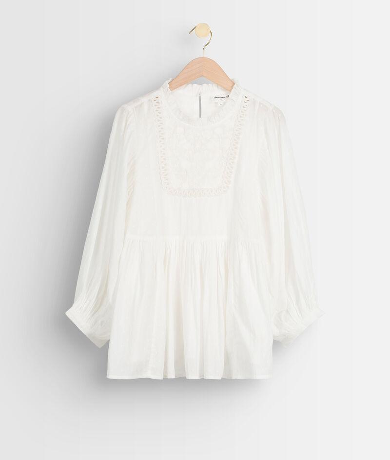 Ecru romantische blouse van katoen met borduurwerk Thelya PhotoZ   1-2-3