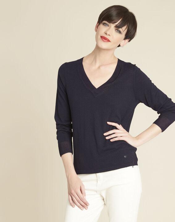 Marineblauer dünner Pullover mit V-Ausschnitt Bergamotte PhotoZ | 1-2-3