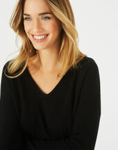 Piment black cashmere sweater with v-neck black.