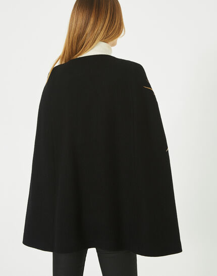 Joenix black, zipped wool cape with embroidered phoenix (4) - 1-2-3