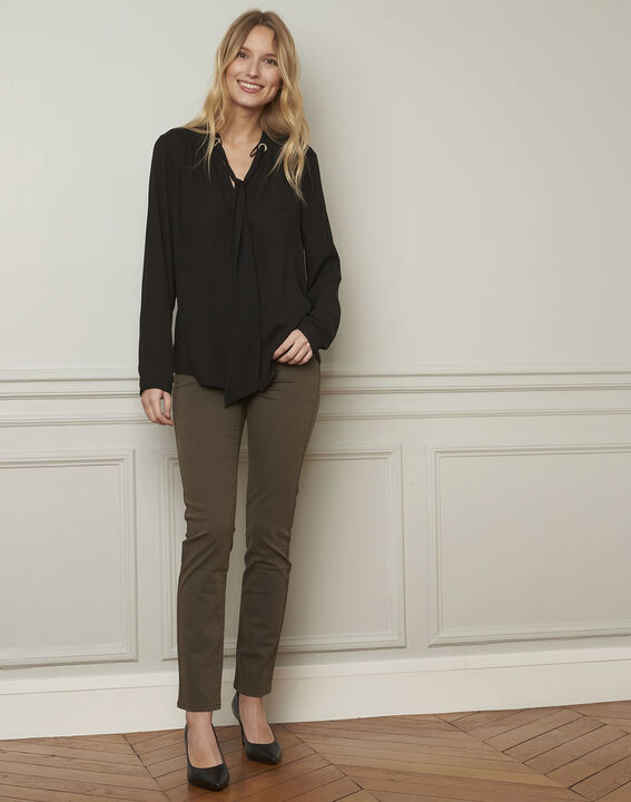 Valence black blouse with neckline ribbon tie  (2) - 1-2-3