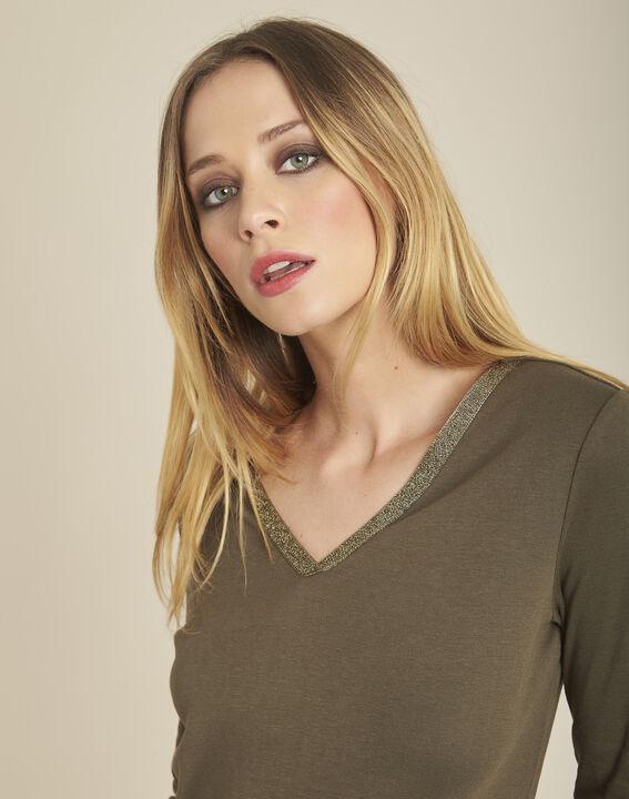 Khakifarbenes T-Shirt mit goldenem Ausschnitt und 3/4-Ärmeln Galvani (2) - 1-2-3
