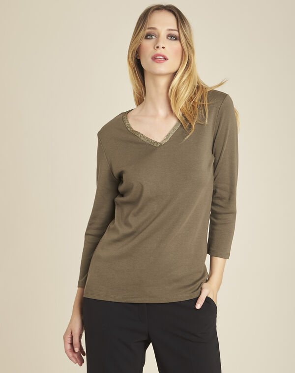 Galvani khaki T-shirt with golden neckline and 3/4 length sleeves (1) - 1-2-3