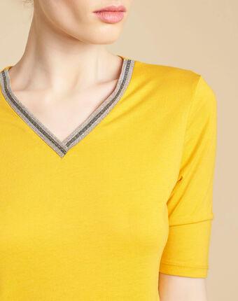 Gelbes t-shirt mit fantasievollem ausschnitt eshine sonnengelb.