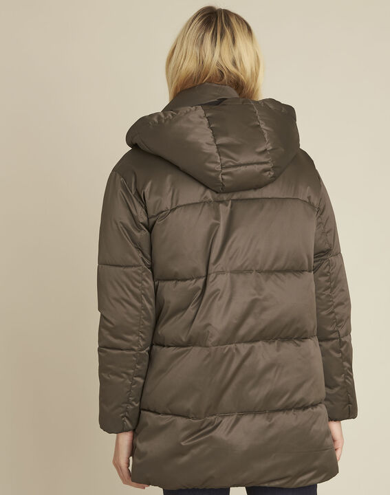 Pamela khaki hooded and quilted down jacket (4) - 1-2-3