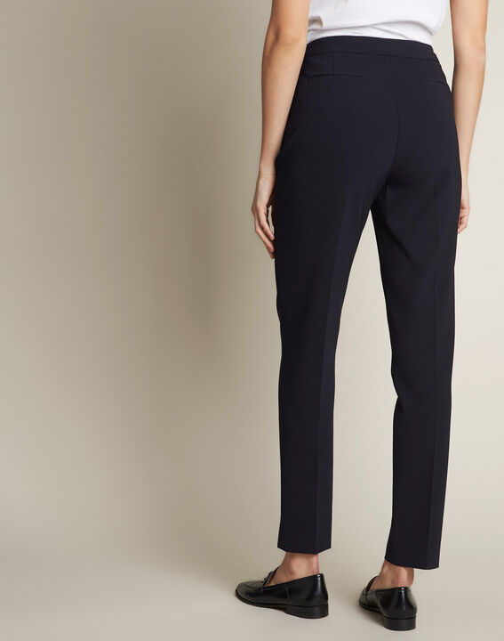 Lara navy slim-cut microfibre trousers (4) - 1-2-3
