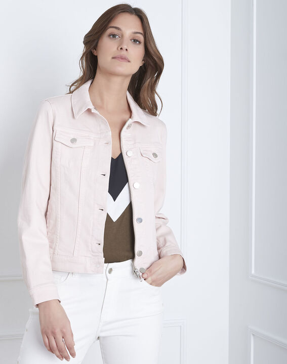 Kurze, puderfarbene Jacke aus Jeansstoff Clem (1) - Maison 123