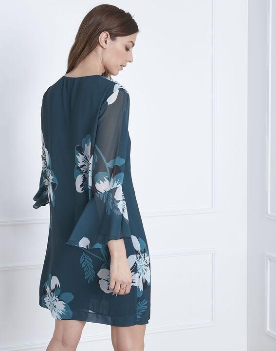 Dunkelgrünes Kleid mit Blumen-Print Astrid (4) - Maison 123