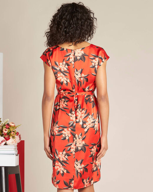 Paradis straight-cut red satin-effect printed dress (2) - 1-2-3