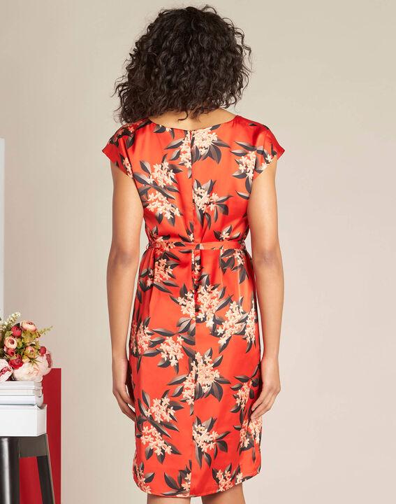 Rotes gerades Print-Kleid mit Satin-Effekt Paradis (4) - 1-2-3