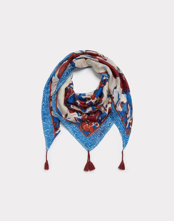 Elga royal blue silk printed scarf PhotoZ | 1-2-3