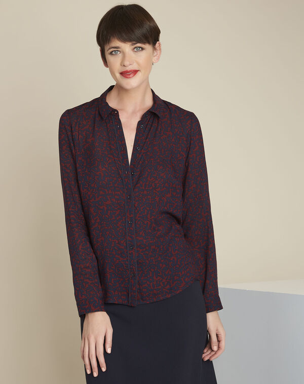 Ravel red leaf print shirt (2) - 1-2-3
