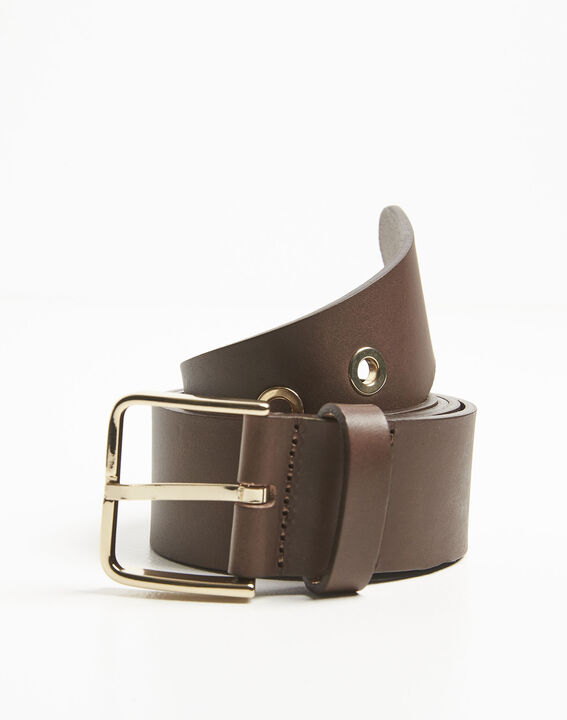 Quincy brown leather belt with a gold tone buckle PhotoZ | 1-2-3