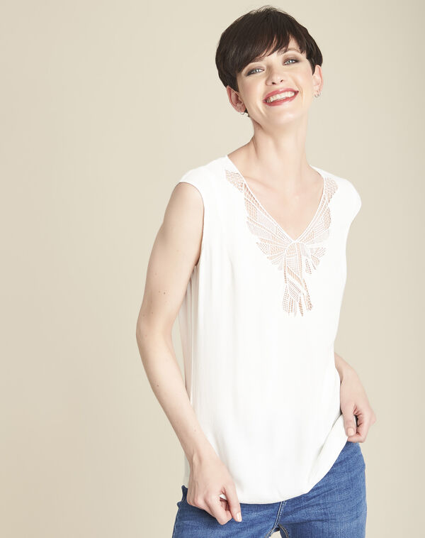 Colline ecru blouse with romantic neckline (1) - 1-2-3