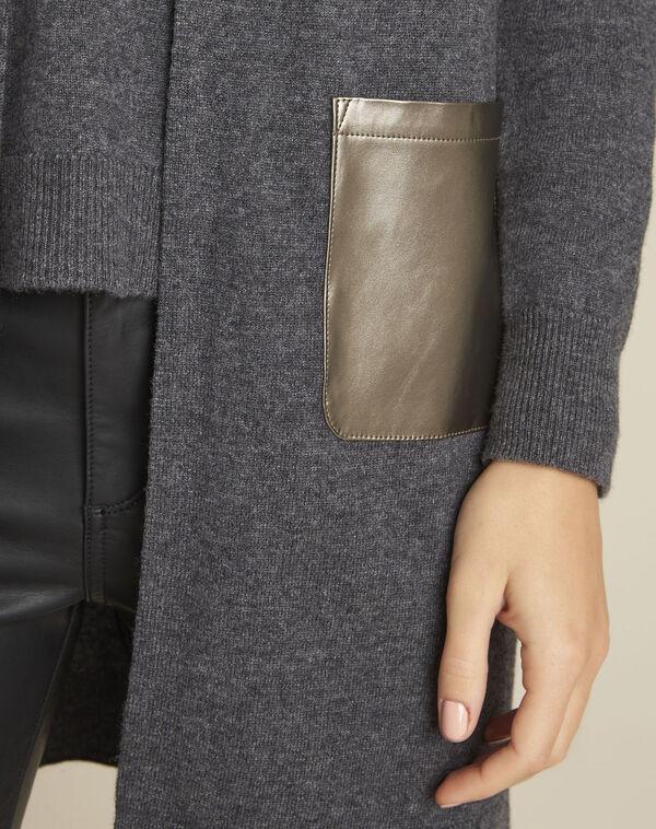Gilet gris capuche en laine cachemire banquise (2) - 1-2-3