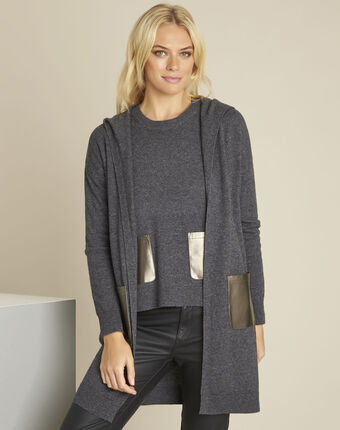 Banquise grey hooded wool cashmere cardigan dark grey.
