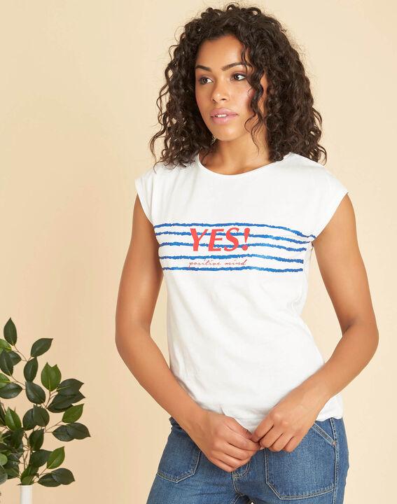 Ecrufarbenes T-Shirt mit Siebdruck Ebloui PhotoZ | 1-2-3