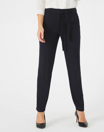 Pantalon bleu marine en crêpe Karoline (3) - 1-2-3