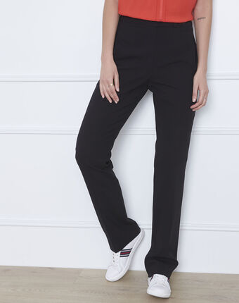 Zwarte rechte broek van microvezel met geknoopte tailleband hugo noir.
