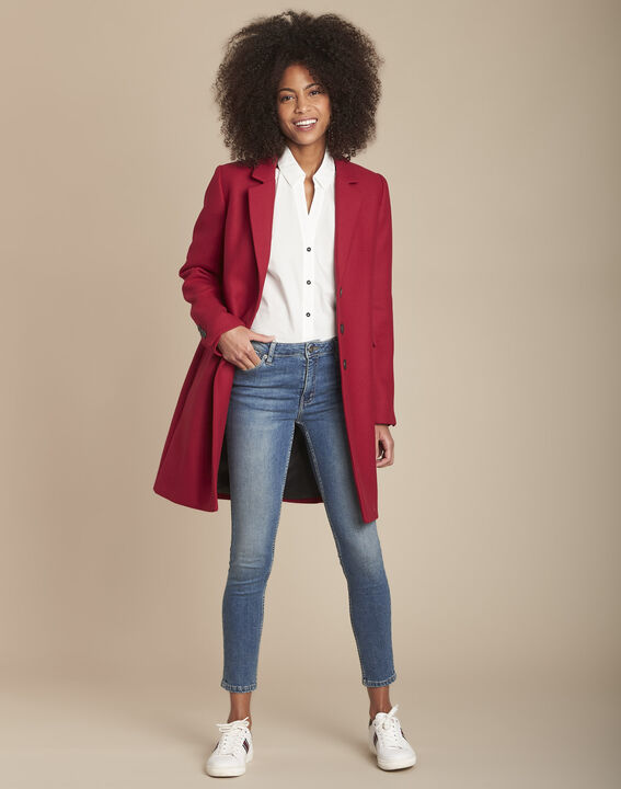 Witte blouse van popeline met contrasterende biezen Mauranne PhotoZ | 1-2-3