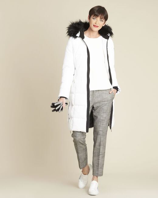 Pipa long white hooded down jacket (1) - 1-2-3