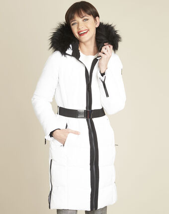 Pipa long white hooded down jacket white.