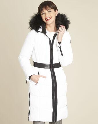 Doudoune blanche longue capuche pipa blanc.