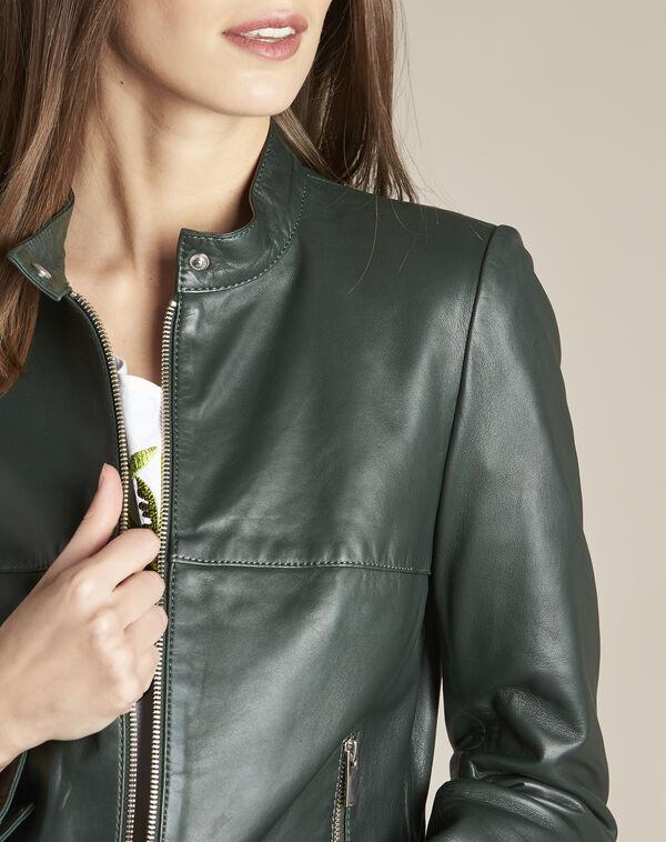 Veste vert foncé courte en cuir Tibo (2) - 1-2-3