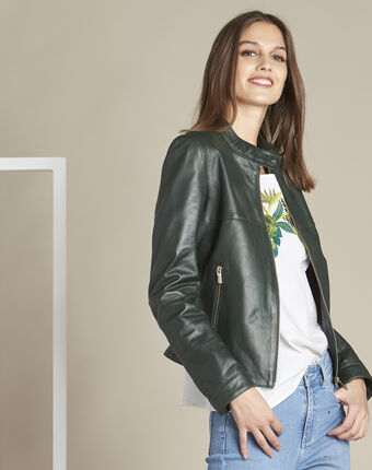 Tibo short dark green leather jacket forest green.