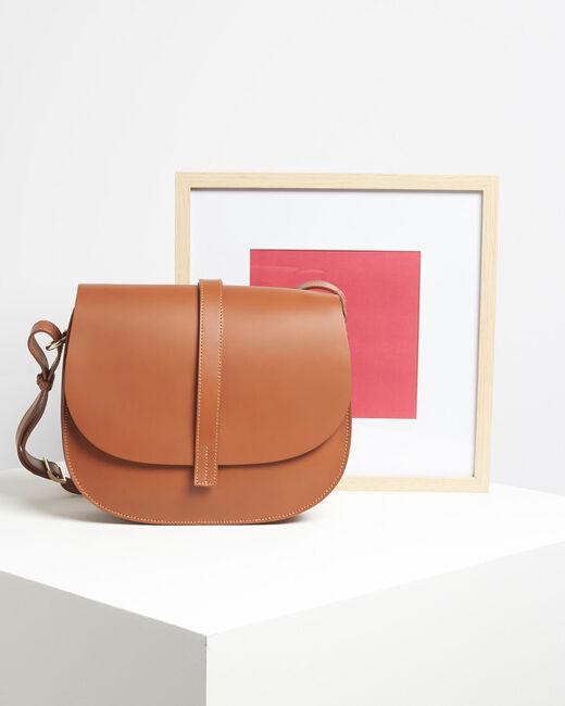 Delinda dual-fabric camel shoulder bag (1) - 1-2-3